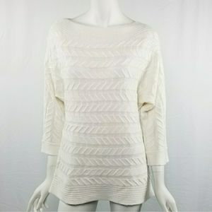 NY&Co White Oversized Dolman Sleeve Sweater Size L